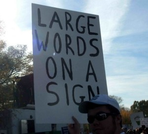 large words on a sign